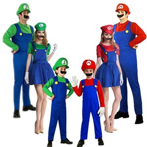 Wholesale New Super Mario Cosplay Costumes Kids Adult Funy Luigi Bros Plumber Purim Cartoon Fancy Ball Dress Family Christmas Party Suit
