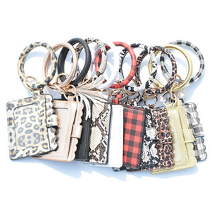 Wholesale school bracelet resale online - hot Leather Bracelet Keychain Leopard Plaid PU Tassel Credit Card Wallet Wristlet Coin Purse Card bag Party FavorT2C5256