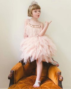 Wholesale Summer European and American style artificial feather black red pink gray girl special dress strap dress