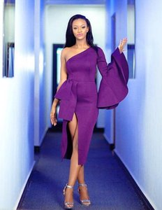 2019 Sexy split fashion chic purple Prom Dresses ruched stain Cocktail Party Dress zipper back african Evening Gowns custom made on Sale