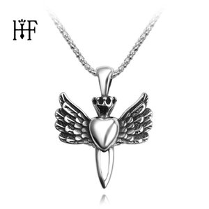 Wholesale Alloy Vintage Retro Angel Heart Crown Wings Pendant Necklace Long Link Chain Collier Hip Hop Rock Jewelry Men s Gift CM