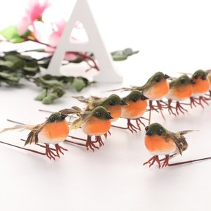 Wholesale 10PCS Christmas Robin Bird Tree Decoration Craft Very Cute Artificial Feather Bird Xmas Tree Decor Craft Wedding Doves Ornament