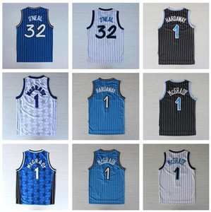 Best-Quality Black White Blue Shaquille 32# O Neal Jersey Penny 1# Hardaway Jersey Tracy 1# McGrady Jerseys black gold #15 Carter Mens Shirt