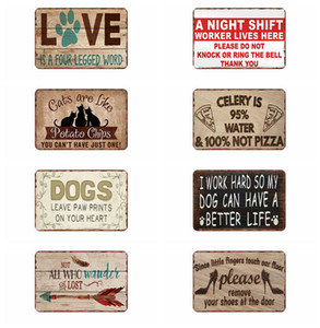 Wholesale beware signs for sale - Group buy Warning Danger Metal Signs Beware Of Dog Cat Poster Vintage Wall Plaque Pub Bar House Painting Man Cave Decor Signs