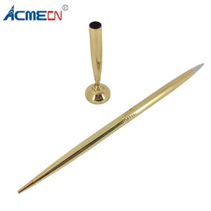 Wholesale ACMECN Brass Ball Pen with Base Counter Pen with Stand Metal Engraving Drafting Gold Sets Finance Bank Table Sets