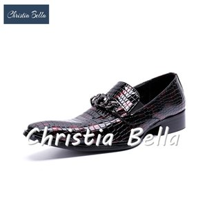 Wholesale Christia Bella Evening Party Wedding Shoes Hairdress Sexy Shoe Plus Size Handmade Squer Toe Genuine Leather Men Dress Shoes