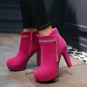 Wholesale YMECHIC Fashion Chain Zipper Extreme High Heels Flock Ankle Platform Boots Sexy Party Date Ladies Shoes Winter Womans Sexy Boot