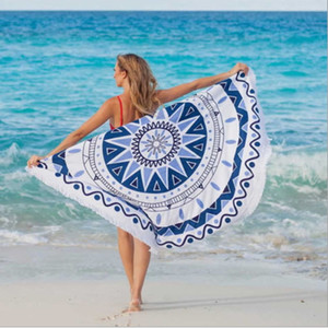 Wholesale Beach Towel Round Mandala Indian Tapestry Shawl Floral Printed Lotus Flower Shape Throw Hippie Gypsy Yoga Mat Blanket Polyester