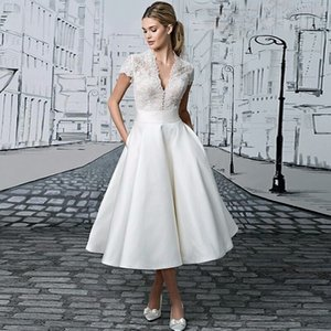 Short A Line Formal Evening Dresses V Neck Short Sleeve With Applique Satin Tea-Length Prom Party Gowns on Sale