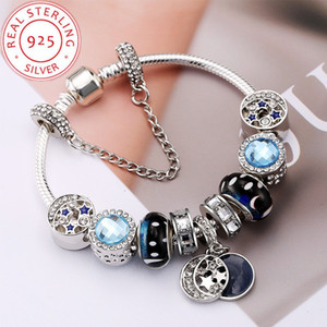 Wholesale Blue Star New Crystal DIY Beaded Bracelet for Women snap jewelry Girls charm silver bead cross bracelets charms pandora with gift box