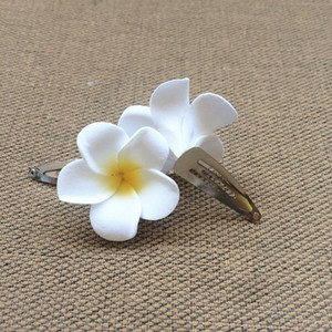 Wholesale New arrival Hawaiian flower jewelry Frangipani Polymer hair pin frangipani artificial flower Girls wedding bride BB CLIP