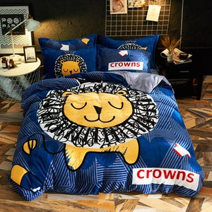 Wholesale Cartoon Lion Poodle Dog Warm Fleece Fabric Child Bedding Sets Velvet Flannel Duvet Cover Bed sheet Bed Linen Pillowcases