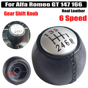 Real Leather Car Gear Shift Stick Knob Lever Shifter HandBall Manual 6 Speed Car Styling Fit For Alfa Romeo GT 147 166