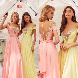 Customized Beautiful A Line Evening Dresses Chiffon Applique Prom Dress Cutaway Sides Floor Length Formal Dresses on Sale