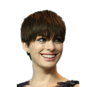 Wholesale short hairstyle cuts resale online - Indian hair New Arrival Rihanna Hairstyle Human Hair Wig Straight Short Pixie Cut Wigs For Black Women Full Lace Front Bob Hair Wigs