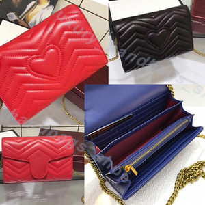 Wholesale Luxury wallet Designer Handbags caviar metal chain Genuine Leather bag Flip cover diagonal Shoulder Bags Embossed logo designer wallet