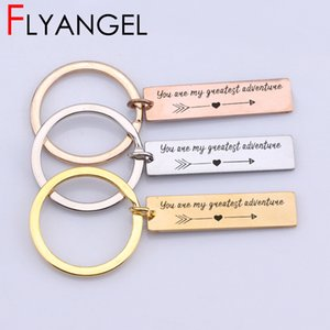 Wholesale New Design Lettering Key Chains Engraved You Are My Greatest Adventure Keyring Baby Shower Gift Jewelry Keys Holder Bag Charm