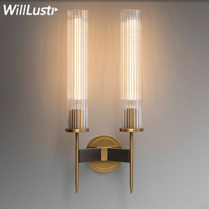 modern brass wall lamp ribbed glass shade vintage wrought copper sconce lobby bedroom hotel corridor restaurant bar cafe loft wall light