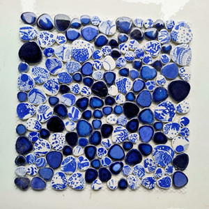 Chinese Blue white pebble porcelain mosaic tile kitchen backsplash PPMTS11 ceramic bathroom wall tile