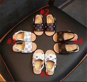 Wholesale Kids Boys PU Leather Slippers First Walker Shoes Luxury Summer Baby Sandals Non slip Shoes Designer Floral Outdoor Beach Sandals B6251