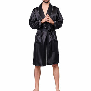 New Men Black Lounge Sleepwear Faux Silk Nightwear For Men Comfort Silky Bathrobes Noble Dressing gown Men's Sleep Robes