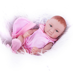 Wholesale silicone baby dolls for sale - Group buy 11inches Pink Jumpsuit Full Silicone Reborn Baby Dolls Lifelike Mini Real Dolls with Hat Realistic Bebes Reborn Babies Toys Bath Gift