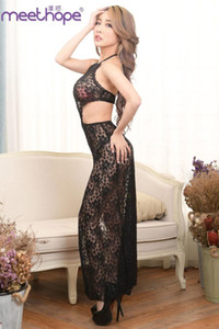 Wholesale 2019 exotic style long sexy cheongsam dress sexy underwear lace perspective dress underwear black blouse