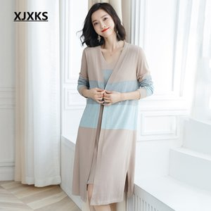 Wholesale XJXKS Spring and autumn clothes women two pieces sweater set streetwear new arrival long sleeved women cardigan sweater vest