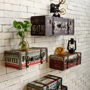Vintage Retro Pu Leather Painting Lage Suitcase Box Home Ktv Bar Pub Decorative Wall Decoration Y19061804