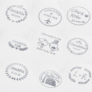 Wholesale 40mm Personalized Custom Self Inking Wedding Business Family Return Address Round Stamp Nitials Name Date Q190528