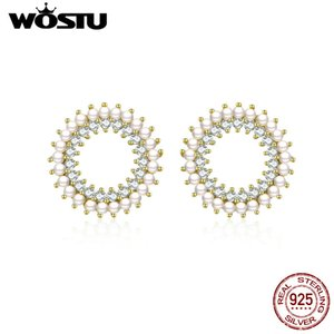 Wholesale WOSTU European Baroque Stud Earrings Sterling Silver Bright Zircon Pearl Round Tiny Earrings For Women Silver Jewelry CTE070