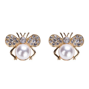 Cute Rhinestone Honey-bee Earrings Alloy Gold Plated Imitation Pearl Clip-on Earrings For Women 2019 Fashion Jewelry Accessories on Sale