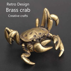 Wholesale Brass Handmade Chinese Style Retro Design Realistic Crab Model Home Craft Gifts Lucky Copper Jewelry Watch Mechanisms