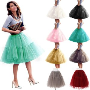 Wholesale Fashion Women Adult Layers Tulle Skirt Half Princess Girls Ballet Tutu Dance Skirt Ball Gown Partywear Black White Pink