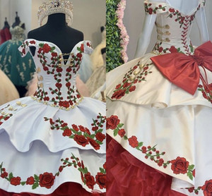 Wholesale gold dres resale online - Gorgeous Gold Red Green Embroidery Quinceanera Dresses Charro Off The Shoulder Bow Tiered Satin Ball Gown Prom Dress th Grade Sweet Dres