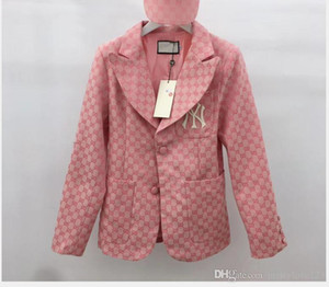 Wholesale Women s autumn new suit collar long sleeve pink khaki embroidery suit jacket female