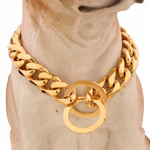 15mm 316l Stainless Steel Gold Silver Plated Cuban Dog Pet Chain Collar 24 Dog collar 60cm Pet Accessories
