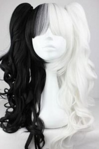 Wholesale WIG LL lt lt lt Black and White Pigtails Pony Tails Adult Wig