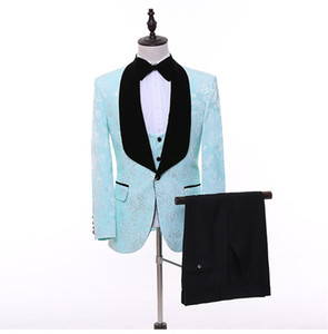 Wholesale Real Image Wedding Tuxedos Black Shawl Lapel Lace Groom Men Suits Wedding Prom Dinner Best Man Blazer Jacket Bow Pants Tailor Made B299