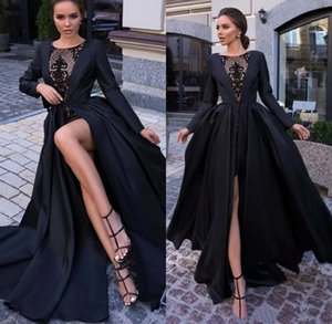Black Sexy Satin Evening Dresses 2019 Long Sleeves Seen Through Lace High Split Formal Party Prom Gowns robes de soirée on Sale