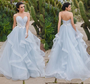 Wholesale Cheap And Elegant Prom Dresses With Ruffles Tulle Long A Line Prm Dresses Sweetheart Applique Zipper Back Bridal Gowns Formal Evening Gown