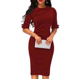 Wholesale new ladies lapel straight dress autumn short sleeved knee length dress dark blue red party dress vestidos