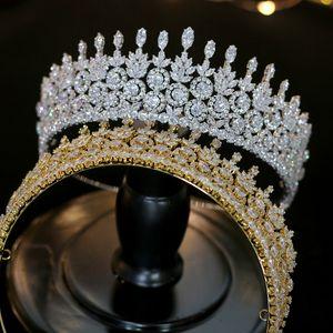 Lujo CZ Wedding Gold   Silver Crown Accesorios para el cabello Joyeria de boda Tocado Novia Corona femenina Conjunto de diseno