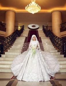 2019 New Muslim Wedding Dresses With Cathedral Train Jewel Neck Lace Ball Gown Bridal Gowns Long Sleeves White Wedding Dress Plus Size on Sale