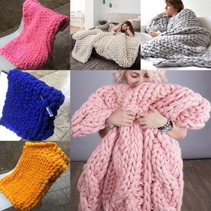Wholesale knitted blankets for sale - Group buy Wool blanket Warm Chunky Knit Blanket Thick Woven Yarn Merino Wool Bulky HandCrafted Chunky Knitted Blankets Color WX9