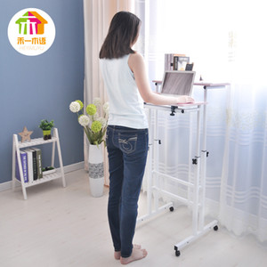 Wholesale Free Lifting And Moving Sit Stand Desk Office Workstation Monitor Holder Computer Table With Universal Wheel And Host Holder