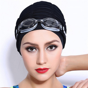 Wholesale Swimming Caps Long Hair Swim Cap Pleated Cloth Fabric Bathing Hats Lycra Beanie Hat for Adult Men Women