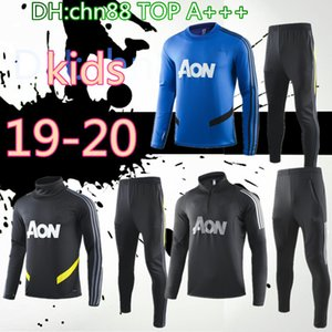 Wholesale top kids POGBA Manchester soccer Jersey tracksuit jacket suit United JAMES FRED RASHFORD MATA Matic Football training suits