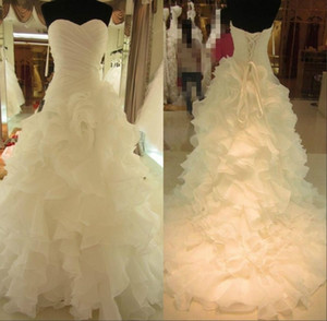 Wholesale Hot Sale Graceful White Bridal Wedding Dresses Organza Sweetheart Lace Up Back Tiered Cascading Ruffles Bridal Gowns