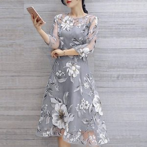 Wholesale Summer Party Dress Women Organza Vintage Floral Print Three Quarter Sleeve Boho Dresses Elegant Dress Clothes for Women